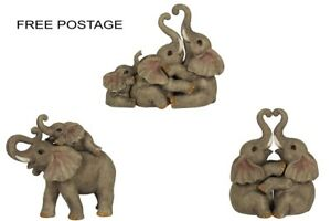 NEW RESIN ELEPHANT BABY COUPLE OR FAMILY ORNAMENT VERY CUTE