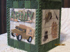 ARMY / UNITED STATES MILITARY  NEW HANDMADE TISSUE BOX COVER PLASTIC CANVAS CUBE