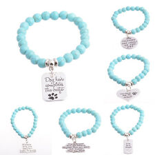 Sister Friend She Believed Turquoise Cat Dog Tag Paw Heart Bracelets Bangle Gift