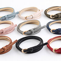 Thin Belt Women PU Leather Belt Solid Color Alloy Pin Buckle Skinny Waistband