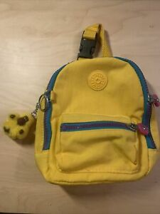 KIPLING YELLOW MINI BACKPACK WITH YELLOW GORILLA KEYCHAIN