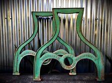2 Factory Farm Table Leg Base Cast Iron Industrial Antique Wood Slab Reclaimed