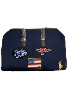 Polo Ralph Lauren Blue Canvas Duffel Weekend Carry-On Travel Bag Patches RARE