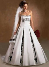 2016 white and black Bride wedding dress Gown Embroider custom Size