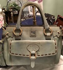 Dooney Bourke Italian Florentine Leather MED Front Pocket Satchel Light Blue
