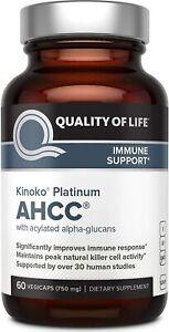 Kinoko Platinum AHCC Supplement, QUALITY OF LIFE –750mg of AHCC, 60 vegicaps