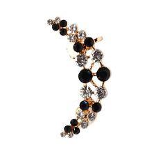 Ear cuff arete pedrería en negro ohrklemme pendientes Earring ohrclip
