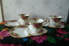 3 Royal Albert Old Country Roses China Tennis Sets Tea Cups Saucers Snack TV
