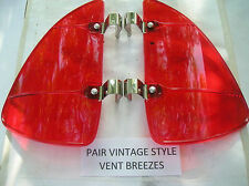 NEW PAIR OF RED COLORED VINTAGE STYLE AIR VENT DEFLECTORS !