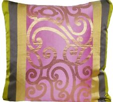 Designers Guild Cushion Cover Silk Benucci Ecru Fabric Pink Gold Square 16""