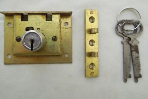 Vintage chest or gaming vending lock and key with escutcheon