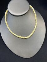 Vintage Beaded Pale Yellow Mother Of Pearl Natural Necklace. Bohemian  Shell 16""