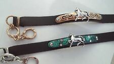 Leather Silver Horse Bracelet Rhinestones Antique Gold or Turquoise Patina