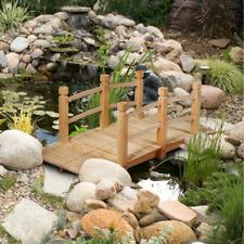 5' Wooden Garden Bridge Arc Stained Finish Footbridge Decorative
