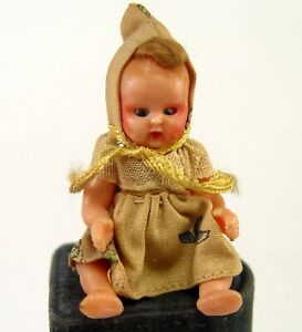 """OLD 2 3/4"""" MICHAEL QUERZOLA HOLLOW PLASTIC DOLL BABY JOINTED ITALY W/ SLEEP EYES"""