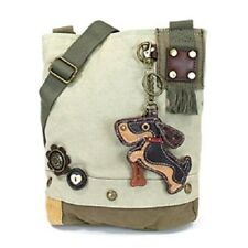 New Chala Patch Crossbody SCOOTER DOG Bag Canvas gift Messenger Sand Beige Small