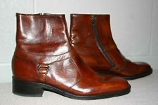 Nos Vtg 1970s Mens 9 N Brown Leather Zip Ankle Beatle Boots Sears Easy Flex Shoe