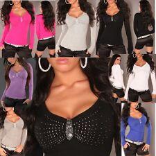 ♥SeXy Miss V Pullover Dekollete Strass Damen leicht Feinstrick Pulli 32 34/36/38