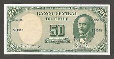 Chile 5 Centimos on 50 Pesos N.D. (1960); UNC; P-126, L-B260c; Mackenna & Ibanez