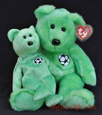 TY Beanie Buddy & Baby KICKS Green Soccer Ball Large & Small Plush Teddy 1999