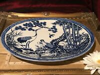 "Asian Porcelain Blue & White Oval Platter w/ Storks Bamboo Ducks 13 3/8""x11"""