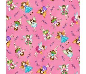 Fabric Fairy Land by Designer Studio E 100% Cotton 112cm wide Fairies Pink