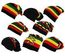 Rasta Stripe Lion Judha Oversized Slouch Pull On Kint Beanie Cap Hat - One Size