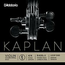 D'addario Kaplan Golden Spiral solo Violin Strings (e-tinned High Carbon Stee...