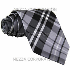 New Men's Vesuvio Napoli plaid checkered Neck Tie Necktie only Party Prom Gray