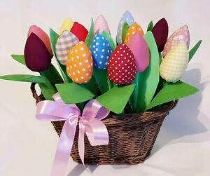Tulips - Cotton Fabric tulips. Handmade. Birthday, Hospital, Gift, Wedding