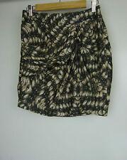 WITCHERY Skirt Sz 8 Grey, brown print 100% silk
