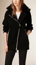 Burberry Shearling Trim Black Wool Cashmere Knitted Biker Jacket XS New