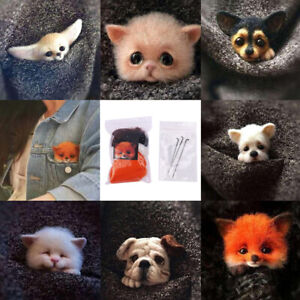 Wool Felt Poke Handmade DIY Material Kit Non Finished Animal Plush Doll PendBDA