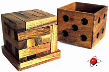 DICE GIFT BOX TETROMINOES - NEW Wood Puzzle Brain Teaser Noggin Busters