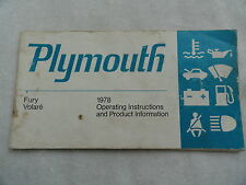 1978 Plymouth Fury Volare Owners Manual