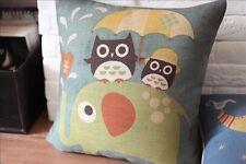 Vintage Cotton Linen Cushion Cover Pillow Case Elephant Owl