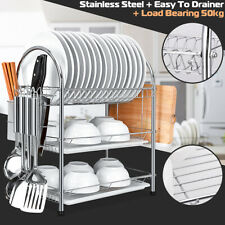 3 Tier Chrome Kitchen Dish Rack Cup Drying Drainer Tray Cutlery Holder Storage