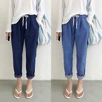 Mode Femme en Jean Pantalon Couleur Unie Casual Simple Bande élastique Plus