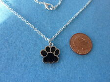 "Dog Paw Black Enamel Charm Pendant Necklace 18"" Birthday Gift Present # 111"