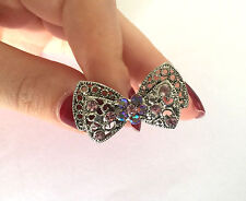 LARGE BOW MAN MADE STONES FLOWER ST STEEL LADIES FASHION RING SIZE 7.5+