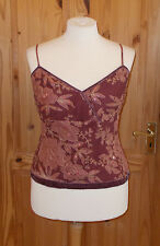 PRINCIPLES purple brown beige red gold floral SILK camisole vest tunic top 16