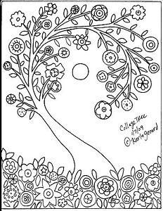 RUG HOOK Crafts PAPER PATTERN Collage Tree FOLK ART Abstract Primitive KARLA G