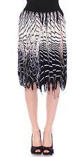 NWT $750 Alice Palmer Knitted Skirt White Black Assymetrical IT42 /US8 /EU38 /M