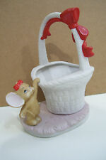 Lefton China Bunny Rabbit Dog Baby Figurine Basket Planter Ceramic Or Porcelain