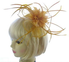 Large Gold Fascinator Headband for Weddings, Races, Ladies Day