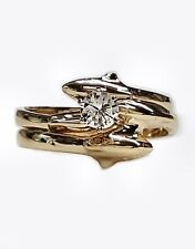 Dolphin Wedding Set with 1/4ct Center Diamond in 14kt Gold. Single Dolphin Bands