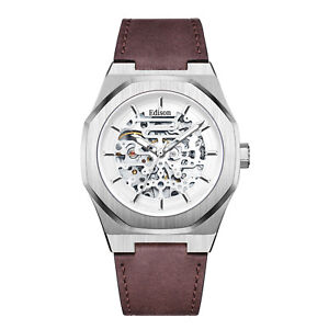 Mens Edison Roadster Automatic Watch Silver Colour Hexagon Case Brown Leather