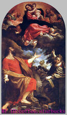 "Art Repro oil painting:""The Virgin Appears to St. Luke and Catherine"" 36x48 Inch"