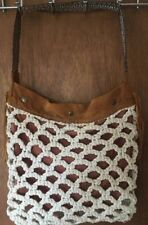 LUCKY BRAND Macrame & Natural Suede Riviera Hobo Hippie Bag Handbag