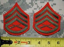 NEW USMC Enlisted Female Staff Sergeant Stripes/Rank Semper Fidelis Red/Green